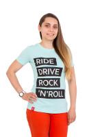 Футболка женская голубая Ride drive rock&roll