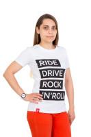 Футболка женская белая Ride drive rock&roll