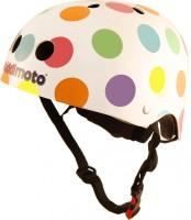 Шлем детский Kiddimoto белый в цветной горошек