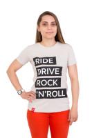 Футболка женская бежевая Ride drive rock&roll