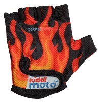 Перчатки детские Kiddimoto чёрные с языками пламени