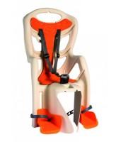 Сиденье задн. Bellelli Pepe Сlamp (на багажник) до 22кг, бежевое с оранжевой подкладкой