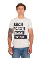 Футболка мужская бежевая Ride drive rock&roll