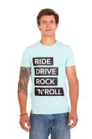 Футболка мужская голубая Ride drive rock&roll