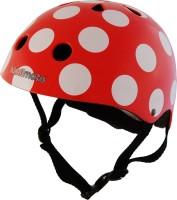 Шлем детский Kiddimoto красный в белый горошек