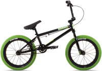 "Велосипед 16"" Stolen AGENT 16.25"" 2021 BLACK W/ NEON GREEN TIRES"