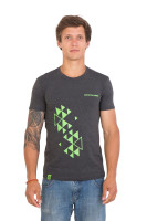 Футболка мужская Cannondale серая с зеленым орнаментом