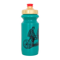 Фляга 0,6 Green Cycle DUDES on bike с большим соском, red nipple/ golden cap/ green bottle